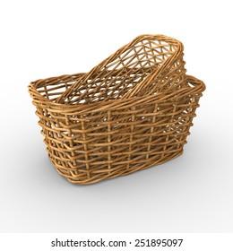 3D wicker baskets on white background