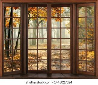 3d window view. Autumn landscape.