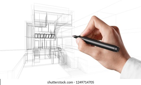 3d wireframe building project