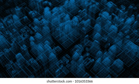 3d wireframe render of abstract city block. Structure of skyscrapers.