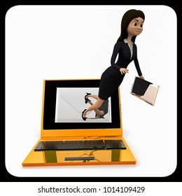 3d woman coming out from laptop receiving online mail concept on white isolated background  , front angle view