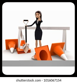 3d woman with diiger tool and traffic cones to stop concept on white bakcground, front angle view
