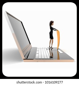 3d woman with laptop shield security concept on white background, side angle view
