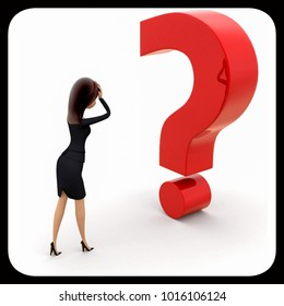 3d woman with question mark concept on white background,  side angle view