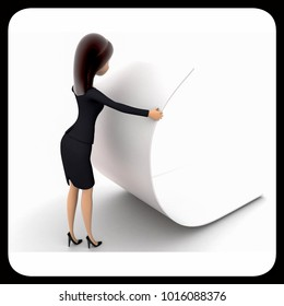 3d woman reading big blank paper concept on white background, side  angle view