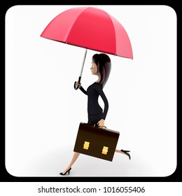 3d woman running for office with pink umbrella and briefcase concept on white background, side  angle view