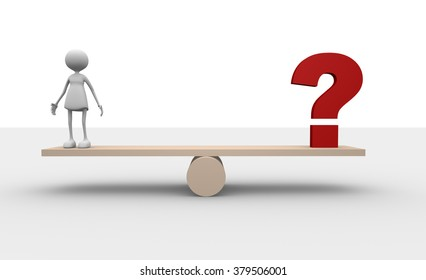 3d women and red question mark