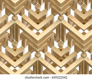 3d wooden abstract ornament on a white background, 3d illustration seamless texture