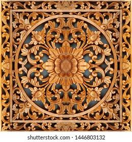 3d wooden carving ornamental panel board, symmetrical centered floral pattern
