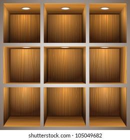 3d wooden shelves.Raster version