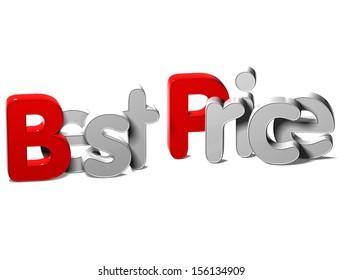 3D Word Best Price on white background