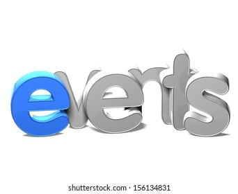 3D Word Events on white background