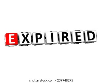 3D Word Expired on white background