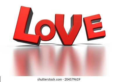 3D Word Love on white background