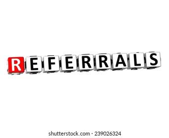 3D Word Referrals on white background