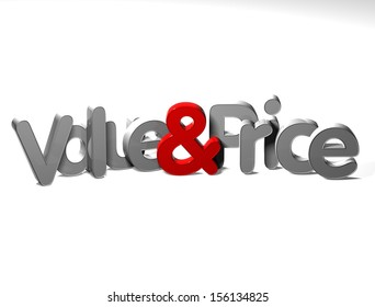 3D Word Value And Price on white background