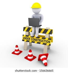 3d worker with laptop is sitting on an Under Construction sign
