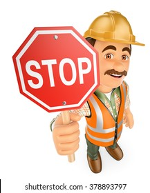 3d working people. Construction worker with a stop signal. Isolated white background.