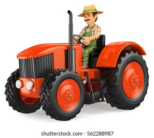 3d working people illustration. Farmer driving a tractor. Isolated white background.