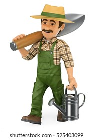 3d working people illustration. Gardener walking with a huge shovel and a watering can. Isolated white background.