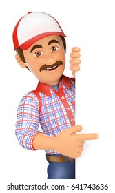 3d working people illustration. Handyman pointing aside with finger. Isolated white background.