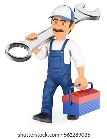 3d working people illustration. Mechanic walking with a wrench and a toolbox. Isolated white background.