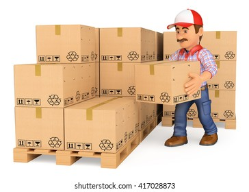 3d working people. Storekeeper stacking boxes in a warehouse. Isolated white background.