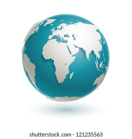 3d  world globe icon with white map of the continents of the world