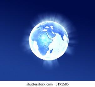 3d world lightning flow in metallic style