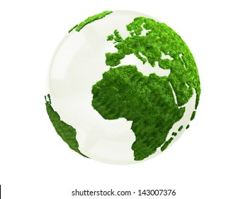 3D World map in grass - isolated over a white background