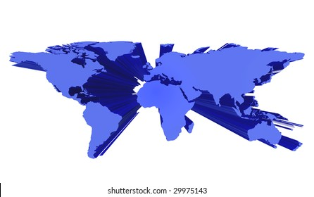 3d world map illustration, isolated on a white background.
