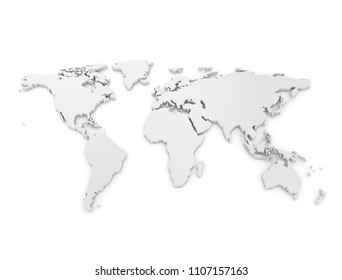 3D world map isolated on white background. 3D illustration