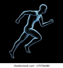 3d x-ray running man isolated on black background