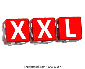 3D XXL Button Click Here Block Text over white background