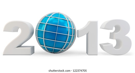 3d year 2013 and globe symbol on white background