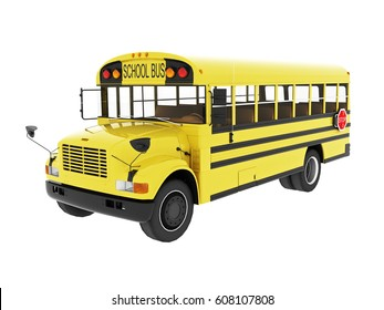 3d yellow bus school isolated on white