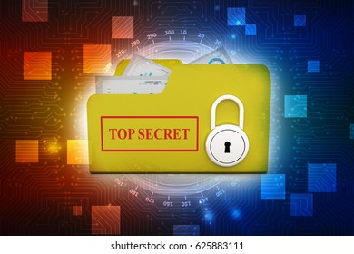 3D yellow folder and lock. Data security concept