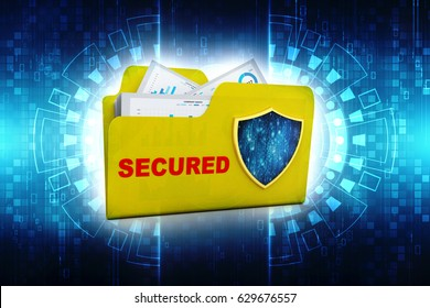 3D yellow folder and sheild. Data security concept