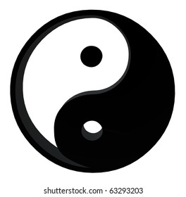 3D yin yang on a white background