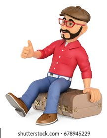 3d young people illustration. Alternative man sitting on a vintage suitcase hitchhiking. Isolated white background.