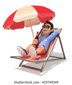 3d young people illustration. Man in shorts on a deckchair in the beach drinking beer. Isolated white background.