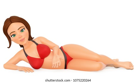 3d young people illustration. Woman in bikini lying on her side in a sexy position. Isolated white background.