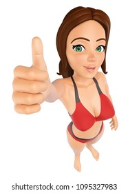 3d young people illustration. Woman in bikini with thumb up. Isolated white background.