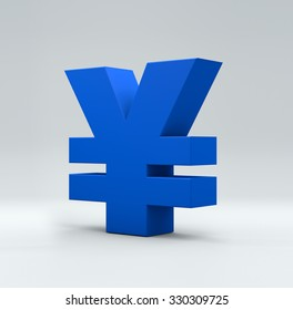 3D yuan word on white isolated background