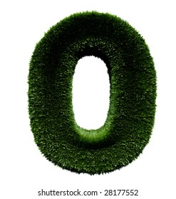 3D zero in grass texture isolated over a white background