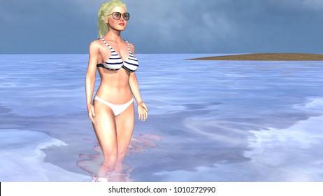3D-illustration -ocean-girl on the beach