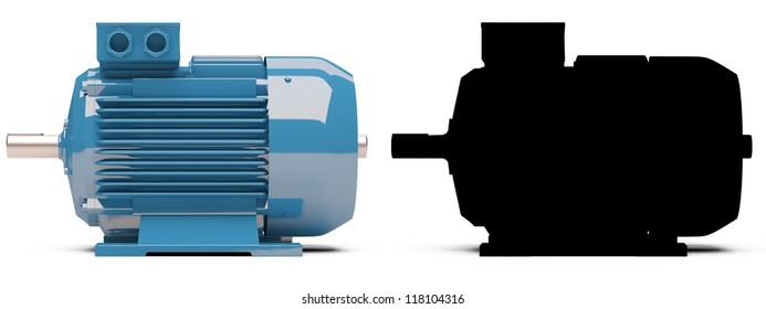 3d-model of the blue electric motor. With black mask.