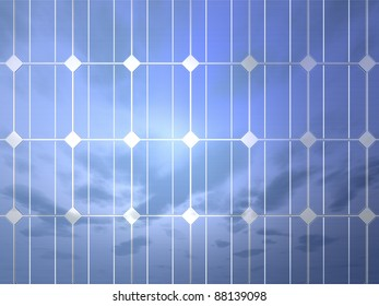 3D-modeled surface of a photovoltaic cell, representing notions such as green technologies, sustainable development, alternative energy sources as well as respect of the environment