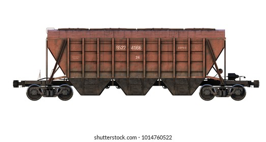 3d-render of cargo railroad car (hopper)