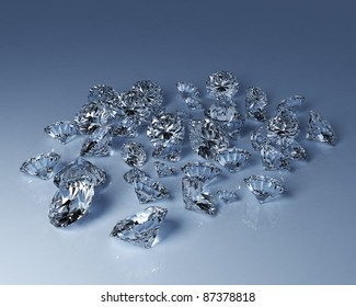 """3D-render of numerous perfect cut diamonds in different sizes with refraction and diffusion showing the """"fire"""" of the gems."""